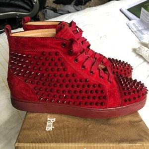 Red Louboutin Louis Spike Leather High Top